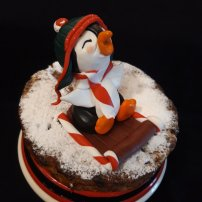 Christmas Fruit cake. Penguin cake topper. Sugar Paste Modeling