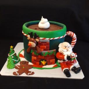 Santa Clause cake topper, Reindeer cake topper, Christmas cake, Chocolate cake